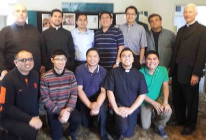 Oakland seminarians pose with Vocations Director Fr. Ken Nobrega and CANFP Board Member Fr. Joseph Illo at 2012 program